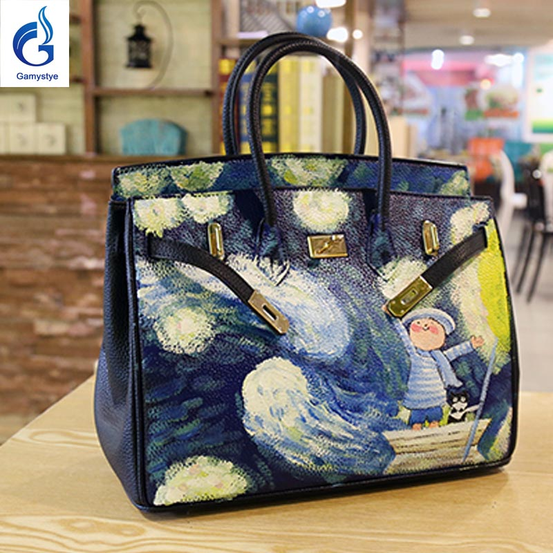 40CM Big Cow Leather Handbags Hand Painted Graffiti Starry Sky Hardware Messenger Bags Women Togo Leather Bags Casual Totes Y art hand printed bags for women 2018 100% genuine leather top handle bags high capacity vintage casual totes togo leather bag y