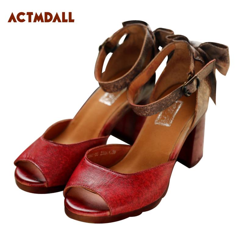 Original Fish Mouth Women High Heeled Sandals Vintage Thick Heel Buckle Ankle Strap Genuine Leather Summer Ladies Shoes Comfort