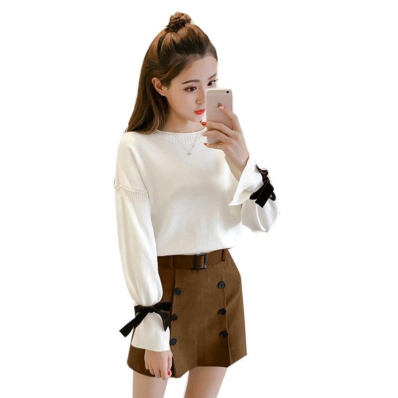 Pull d'hiver à manches longues pull deux pièces ensemble de vêtements femmes à la mode style occidental costumes en tissu a-ligne jupe vestido