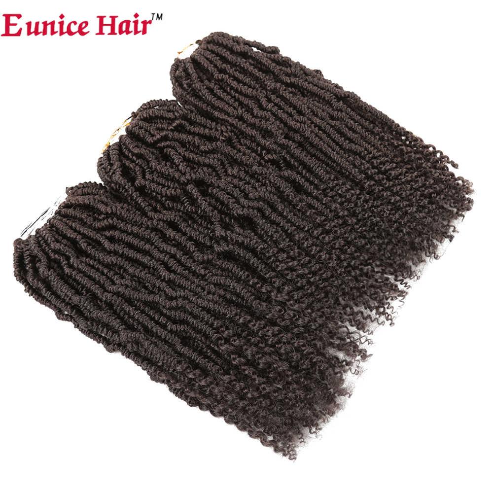 "Eunice Rambut 14 ""Bom Kinky Twist Crochet Rambut Sintetis Rambut Berbulu Ekstensi Springtwist Mengepang Rambut Nubia Twist 24 Helai"