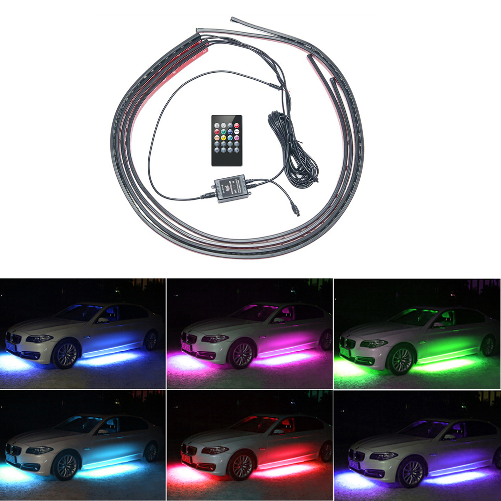 4pcs Car RGB LED Strip Light Under LED Strip Lights 8 ...