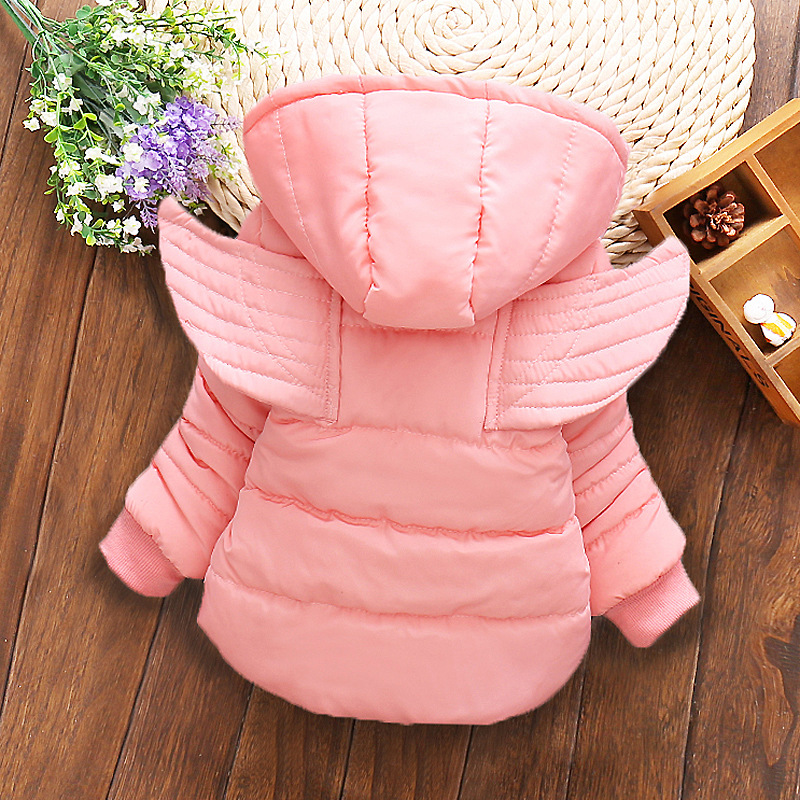 Kids girl Coat 2016 Winter Girls Warm jacket baby Fashion cartoon Angel wings Cotton padded clothes