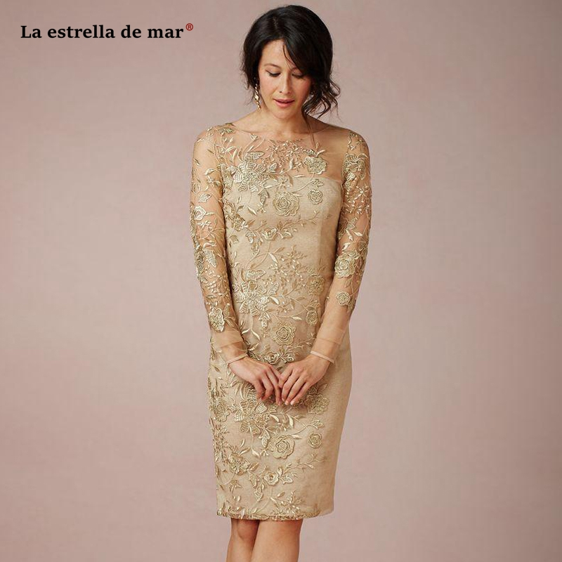 Vestidos Madre Novia New Scoop Neck Lace Long Sleeves Gold Sexy Mermaid Bride Mother's Dress Tea Length Robe Mere De La Mariee