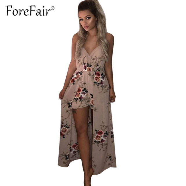 e1a1bc06797 Forefair New Fashion Floral Print Chiffon Strap Jumpsuit Romper Women Sexy V  Neck High Low Playsuit Long Tail Overalls Bodysuit