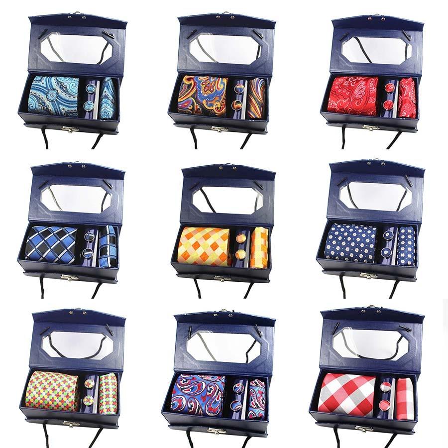 GUSLESON Luxury Silk Men Tie Set Hanky Cufflinks With Gift Box Jacquard Woven Tie Neckties Set For Men Wedding Party