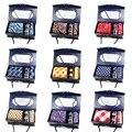 Homens De Seda Set Tie Hanky Abotoaduras Com Caixa de Presente de luxo Jacquard tecidos de seda Tie Gravatas Definidos Para Homens Lotes de acessórios de Festa de Casamento