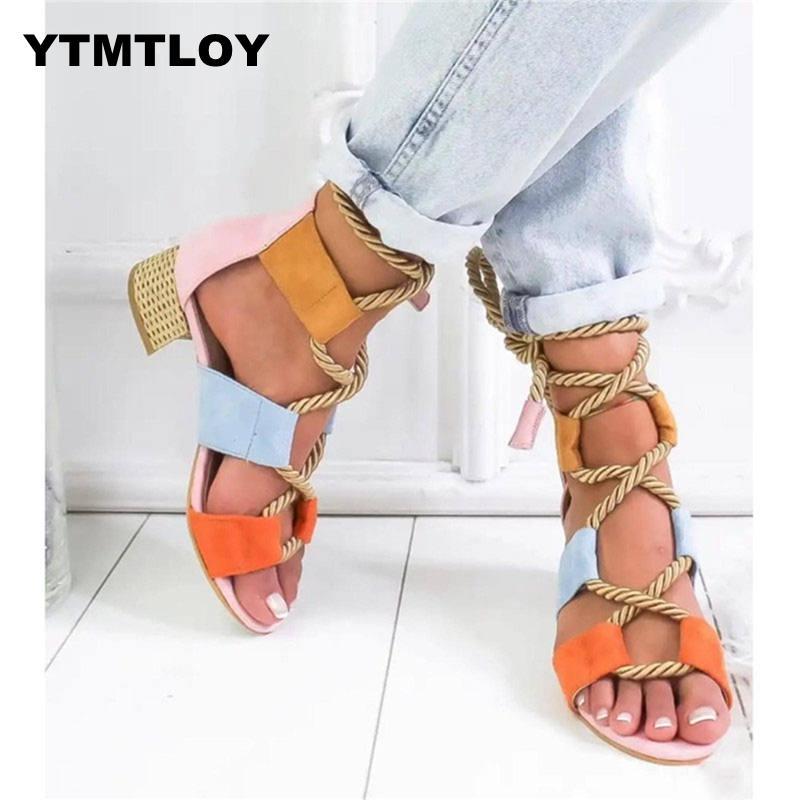Platform Sandals Espadrilles Heel Lace-Up Summer Wedge Hemp Pointed Fish-Mouth Women