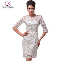 Free Shipping Grace Karin Light Grey Short Half Sleeve Lace Knee Length Ball Mother Of The