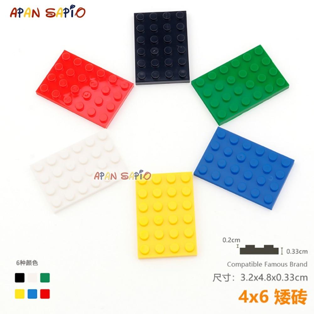 5 шт./лот, сделай сам, строительные блоки кирпичи тонкие 4X6 развивающие сборные строительные игрушки для детей размер совместим с lego