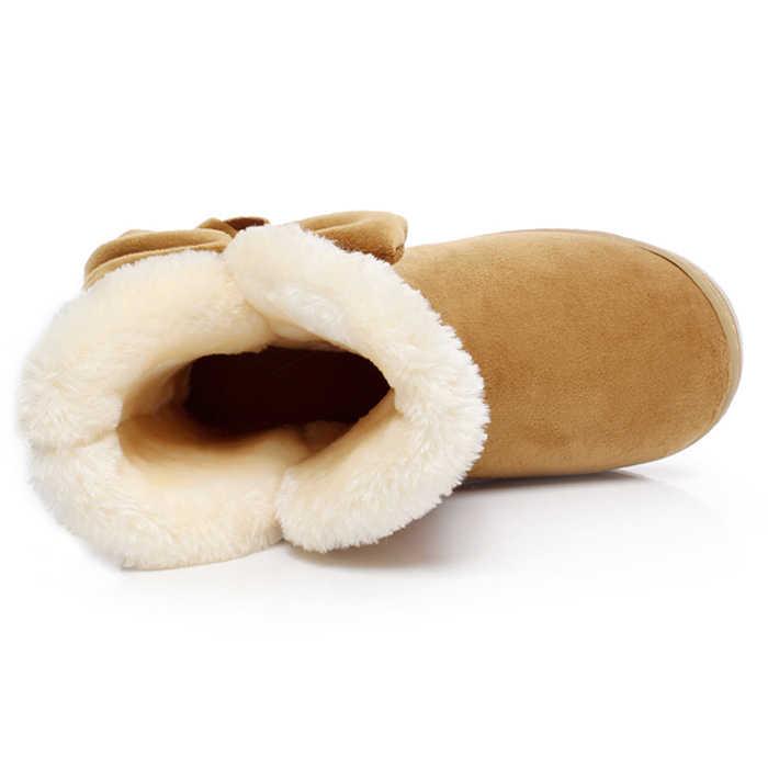 2019 Kış Yeni Sıcak Satış Kadın Kar Botları Katı Papyon Slip-On Yumuşak Sevimli Kadın Çizmeler Yuvarlak Ayak Düz kış Ayakkabı 4 renkler