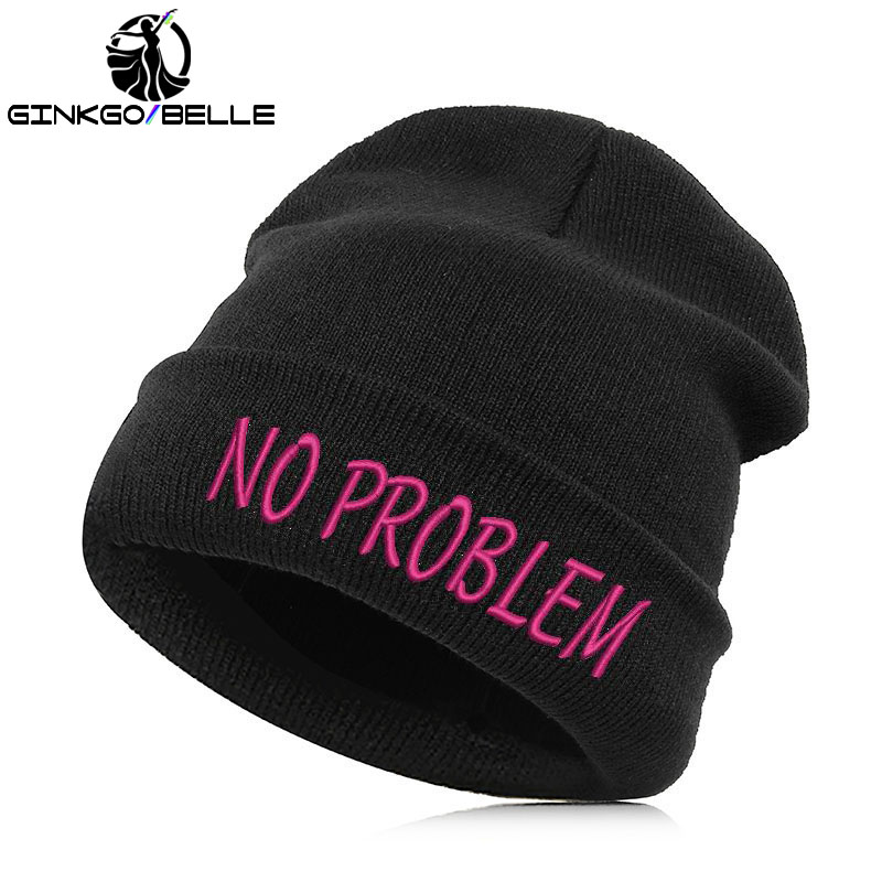 Beanie Hat Skullie Cap Slouchy Winter Embroidery Cool Punk Men Women Boy Girl Teens Street Dance - No Problem