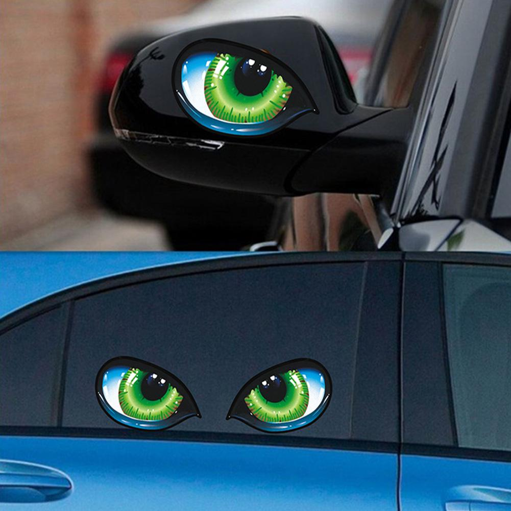 2Pcs Creative Evil Eyes Self-Adhesive Sticker Rear View Mirror Car Decor Decal Stereo Reflective Cat Eyes Car Auto Side Fender