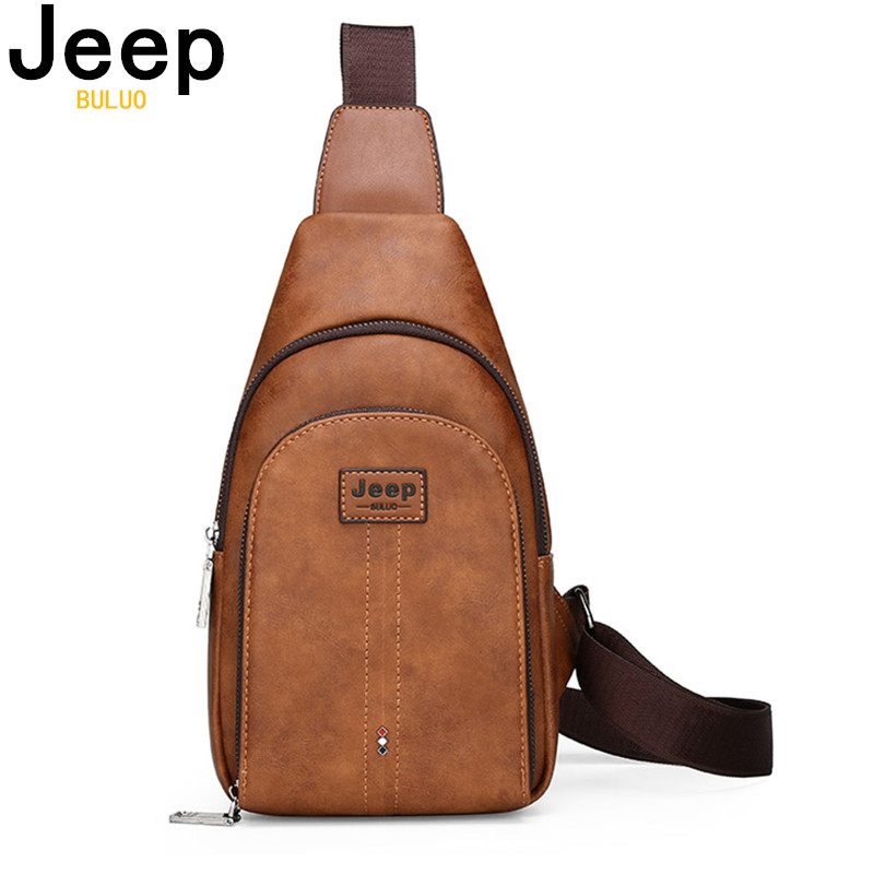 JEEP BULUO Brand Man's Sling Bags High Quality Men Vintage Split Leather Satchel Shoulder Chest Pack Bag For College Teenagers
