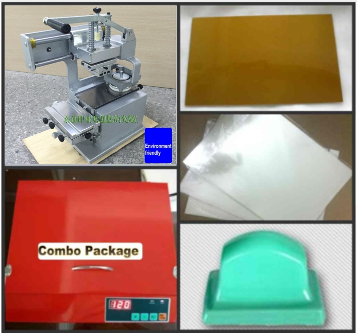 Sealed Ink Cup Pad Printing Machine + UV Exposure Unit +Pad Print Supplies Package