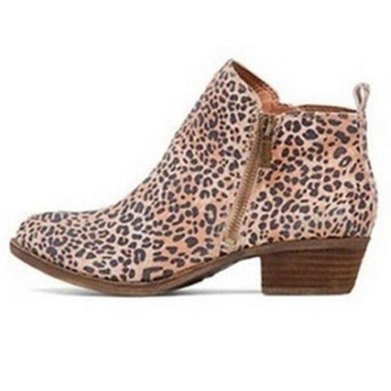 Brown Tacón Tallas 43 Mujer Caliente Zapatos Cremallera Tobillo leopard Botas 35 Lateral 2019 Bloque red Covoyyar Punta Grandes Moda azul Negro De Nueva Wbs976 SgqpzTz