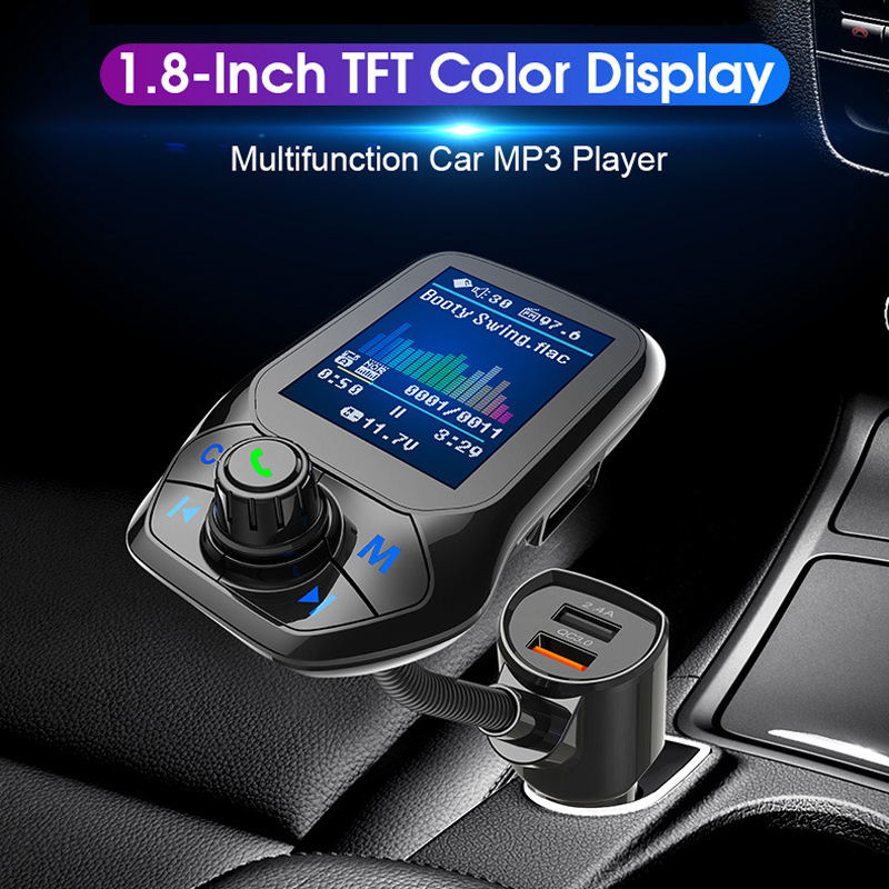1.8 inch Color Display Bluetooth Handsfree Car Kit 3 USB Port QC3.0 Car Charger FM Transmitter Car MP3 Music Player(China)