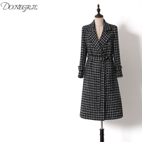 2019 Winter Black Plaid Wool Long Coat England Style Runway Elegant Woolen Coat Double Breasted Long Outerwear