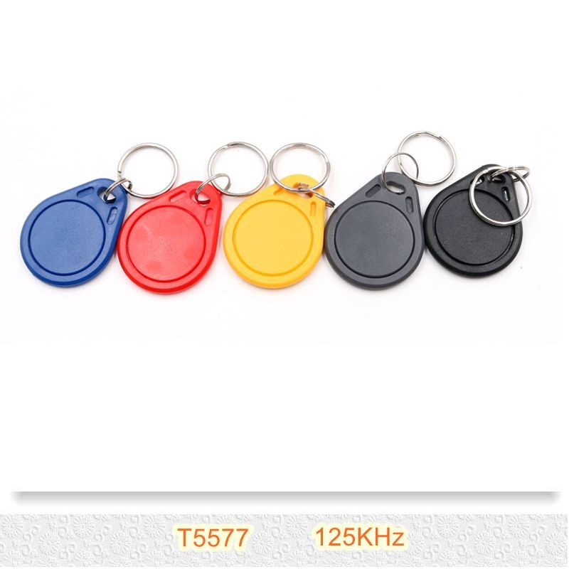 2PCS/lot Writable T5577 Keyfobs 125Khz RFID Key Tags Token Keychain for Access Control 50pcs lot waterproof abs rfid frequency 13 56mhz re writable keychains keyfobs for registration certification access control