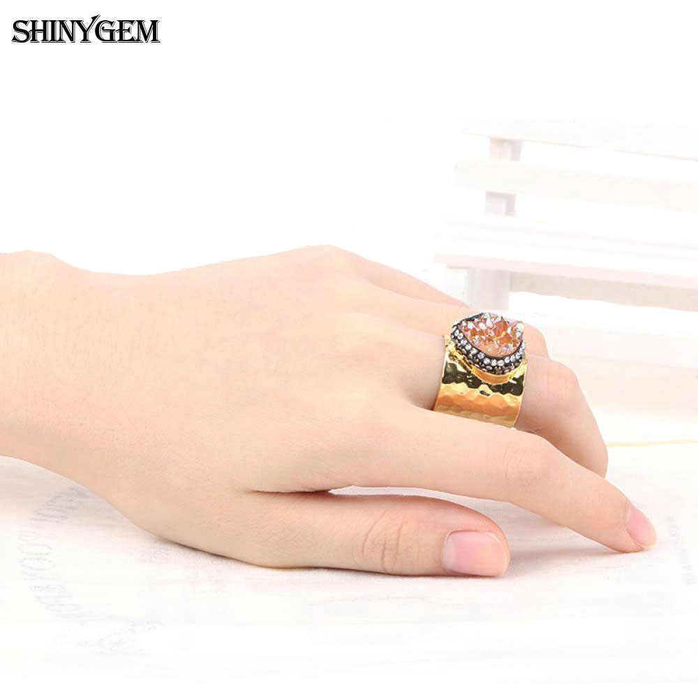 ShinyGem แฟชั่นยุ้ยแหวนทอง Druzy คริสตัลหินแหวน Pave Zircons ปรับแหวนหมั้นสำหรับสุภาพสตรี