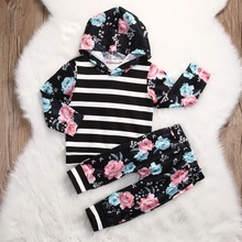 Kids Toddler Baby Girl Clothes Tops Hoodies Hooded Long Sleeve Sweatshirt Pants 2pcs Cute Girls Clothing Outfits Set цена и фото