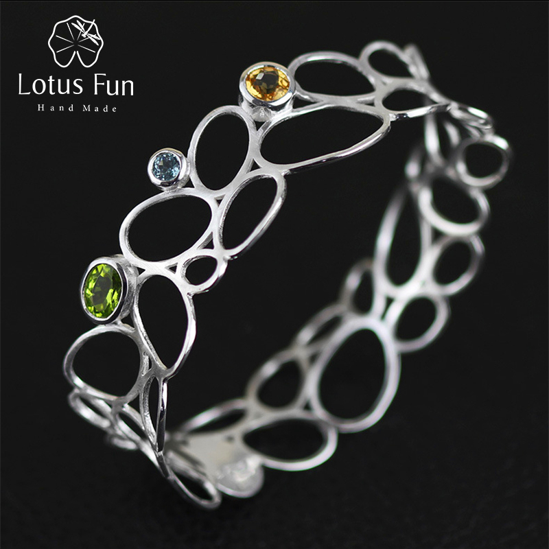 Lotus Fun Real 925 Sterling Silver Natural Topaz Handmade Fine Jewelry Vintage Delicate Luxury Hollow out Bangle for Women delicate solid color multi layered hollow out cuff bracelet for women