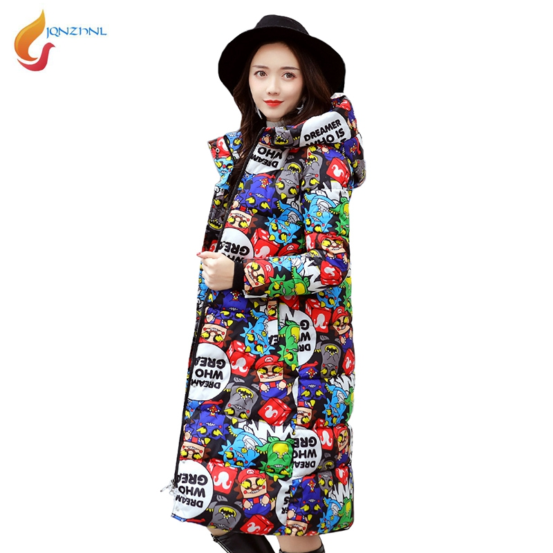 JQNZHNL Women Hooded Cotton Coat Outerwear 2017 New Winter Coats Parkas Printing Slim Thicken Down Cotton Coats And Jackets L602 winter jackets coats new down cotton jacket women parkas thicken hooded outerwear slim large size medium long female coat k616