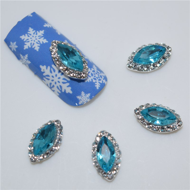 10psc New Blue Diamond horse eye 3D Nail Art Decorations,Alloy Nail Charms,Nails Rhinestones Nail Supplies #285