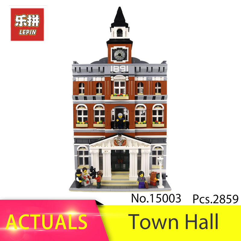 Lepin 15003 CITY Street The Town Hall Model 2859pcs Building Block Brick Educational Kits Toys For Children 10224 Gift hsanhe street architecture series lepin city house bank model building kits brick blocks educational toys for children friends