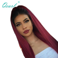 Human Hair Full Lace Wigs 1b/99j Burgundy Ombre Color Glueless Lace Wigs For Women Red Middle Part 130%/150%/180% Density Qearl