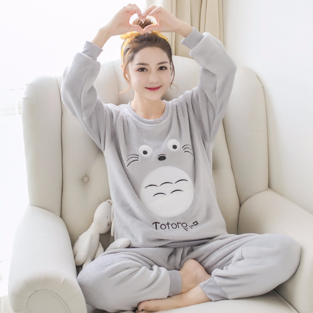 JRMISSLI autumn winter warm Totoro flannel Home Clothing women Pajamas Sets long sleeve  ...