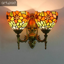 Artpad Mediterranean Double Wall Light Mosaic Dragonfly Lamp Stained Glass Lampshade Butterfly Up Down Indoor