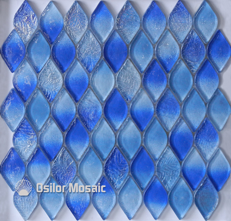Free shipping mediterranean sea rhombus pattern blue glass crystal mosaic tile for bathroom or living room wall tile 1 piece free shipping silver or blue
