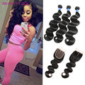 Brazilian Body Wave With Closure 8A Grade Unprocessed Hair Bundles With Lace Closures Hair Products 3/4 Bundles Human Hair