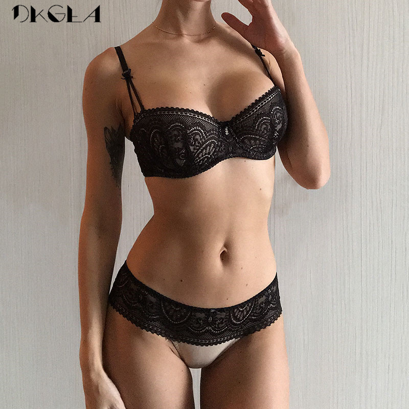 Fashion Black   Bra     Set   Half Cup Plunge Thin Brassiere Women   Bras   Sexy Underwear   Sets   Cotton Embroidery Lace Lingerie   Set   Green