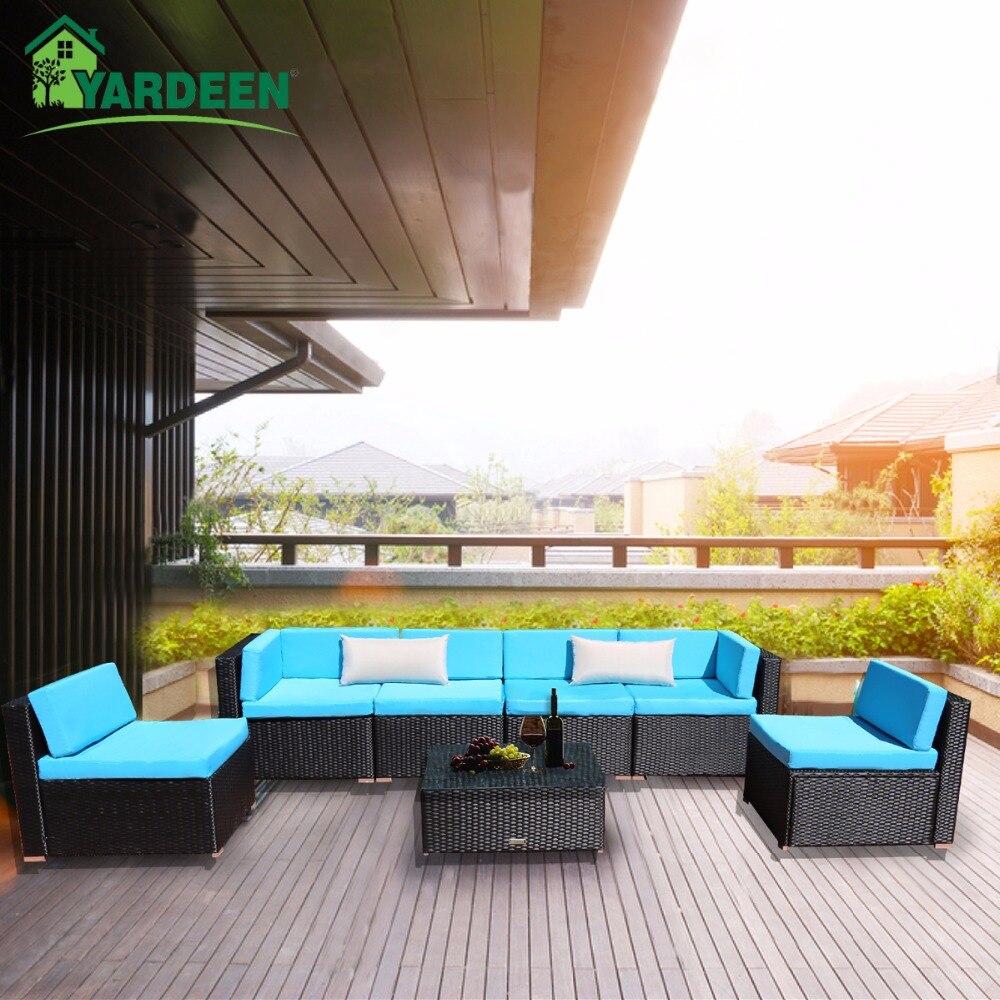 7 Yardeen Peças Pátio PE Sofá Do Jardim Do Rattan Conjunto Mobiliário Quintal Kit Indoor e Ao Ar Livre Com 2 Reforçar Travesseiros e mesa de chá