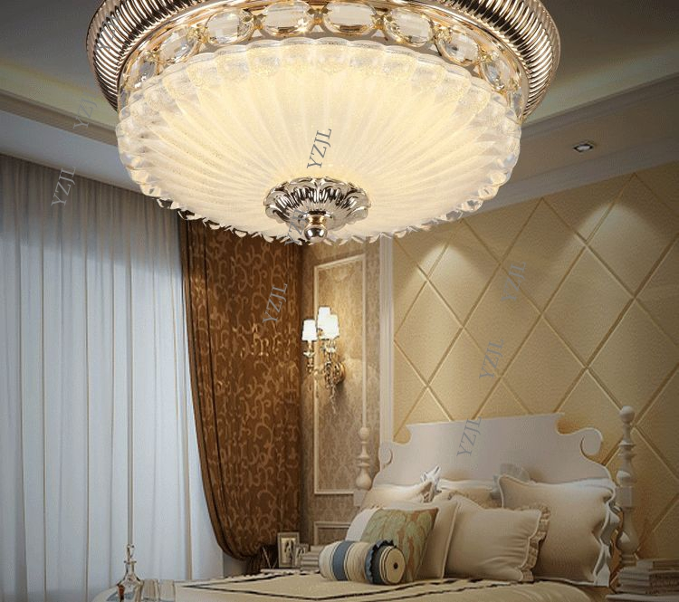 Led Ceiling Lamp Living Room Round Gold Ceiling Lamps Crystal Master Bedroom Room European Zinc