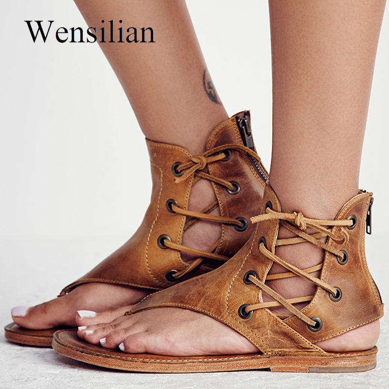 Gladiator Sandals Women Summer Flat Sandals Lace-up Flip Flops Peep Toe Ladies Beach Shoes Ankle Strap Zippers Zapatos Mujer new 2018 women open toe flip flops fashion ankle strap gladiator sandals women big size 34 43 ladies casual flat rome sandals