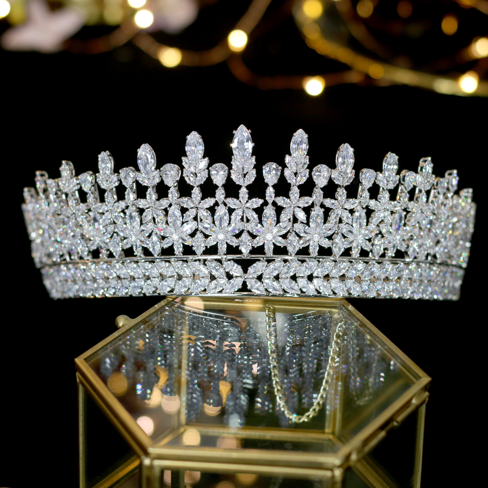 Nueva zirconia cubica tiara nupcial accesorios boda corona de graduacion bola fiesta princesa accesorios para el cabello corona