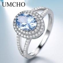 UMCHO حقيقية 925 الاسترليني الفضة خواتم للنساء الفاخرة الأزرق توباز الأحجار الكريمة خاتم الخطوبة حزب كوكتيل مجوهرات مخصصة
