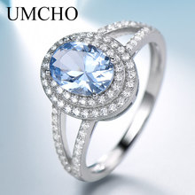 UMCHO Genuine 925 Sterling Silver Rings for Women Luxury Blue Topaz Gemstone Ring Engagement Party Cocktail Custom Jewelry