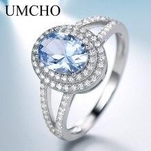 여성을위한 umcho 정품 925 스털링 실버 반지 럭셔리 블루 토파즈 보석 반지 약혼 파티 칵테일 맞춤 보석