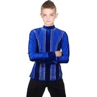 Ballroom Latin Dance Shirts Men Boys Velvet Clothes For Salsa Samba Kids Performance Clothing Competition Latin Dance Top DN1581