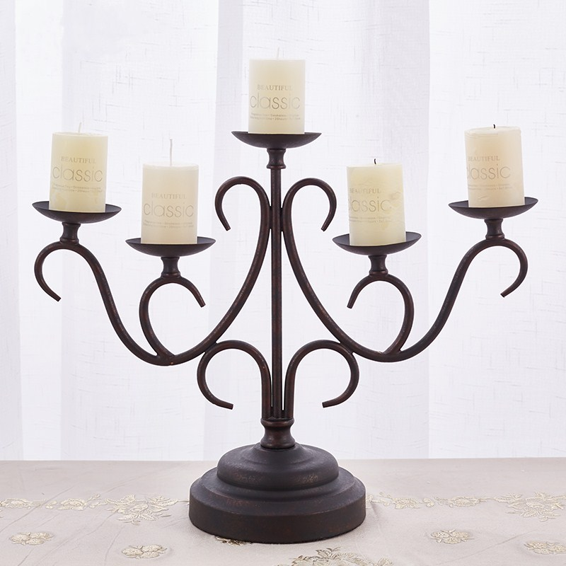 Living Room Dining Table: Wedding Candlestick Retro Wrought Iron Candle Holder