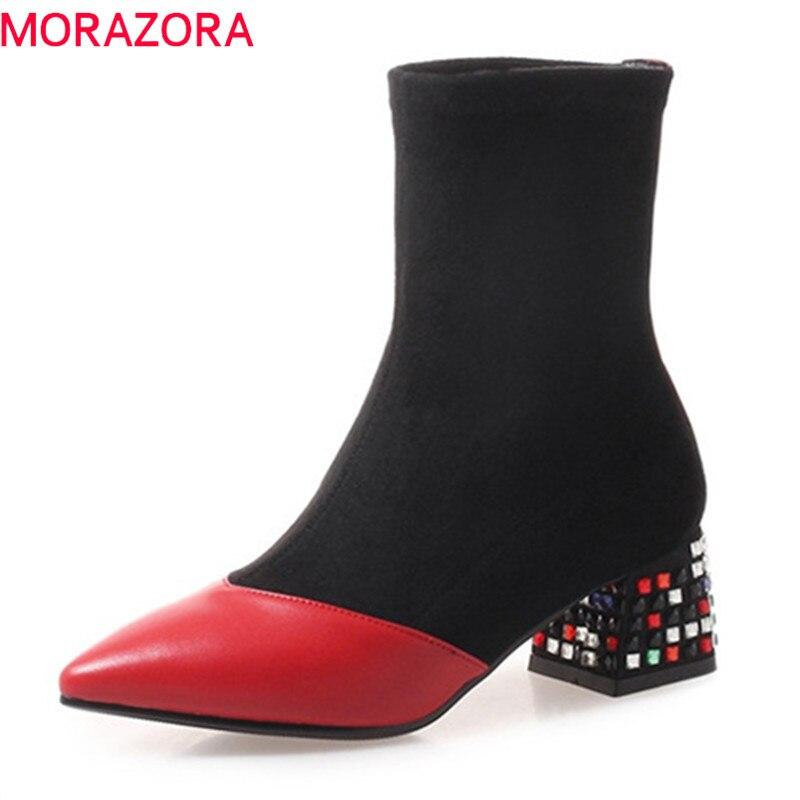 MORAZORA 2020 top qualité en cuir véritable bottines pour femmes couleurs mélangées talons carrés automne bottes chaussures de loisir à la mode-in Bottines from Chaussures    1