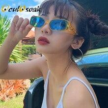 Trendy Small Orange Rectangular Sunglasses Women 2019 90s Retro Lady Tiny Square