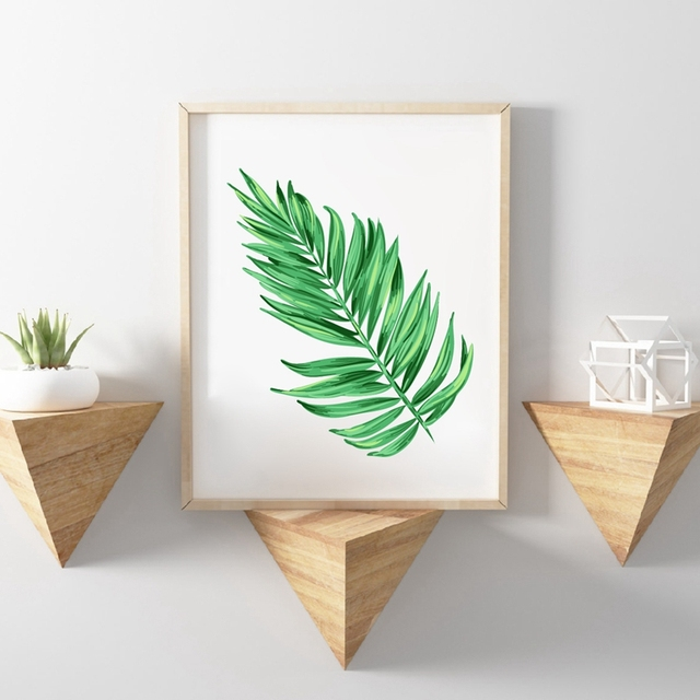 Watercolor Palm Tree Branches Canvas Art Print Wall Decor , Tropical Plants  Palm Leaves Canvas Painting