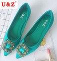 Mais recente Moda floral de seda de cetim e malha loafers flats, teste padrão de flor dedo apontado malha flats casual shoes Preto/verde