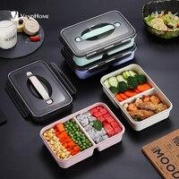 VandHome japońskie pudełko śniadaniowe dla dzieci pudełko Bento do kuchenki mikrofalowej z przegródkami przenośna słoma pszenna Bento pudełko na lunch pojemnik na jedzenie w Pudełka śniadaniowe od Dom i ogród na