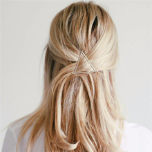Fashion Women Trendy Metal Hairgrips Simple Hair Clips Geometric Hollow Triangle Accessories Barrettes