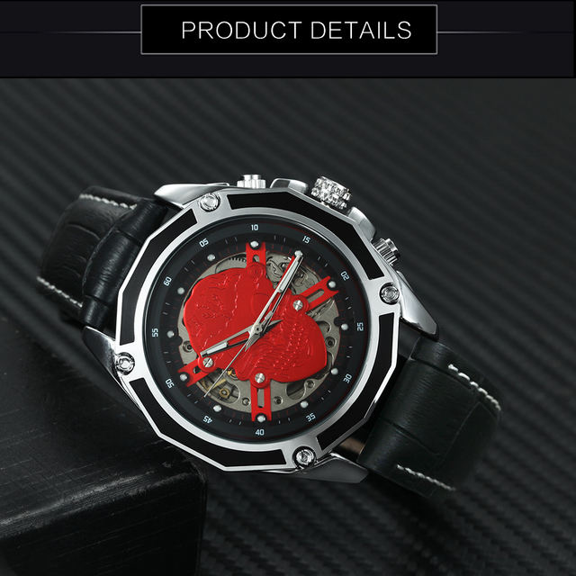 AUTO MECHANICAL SKULL LEATHER STRAP WATCHES (3 VARIAN)